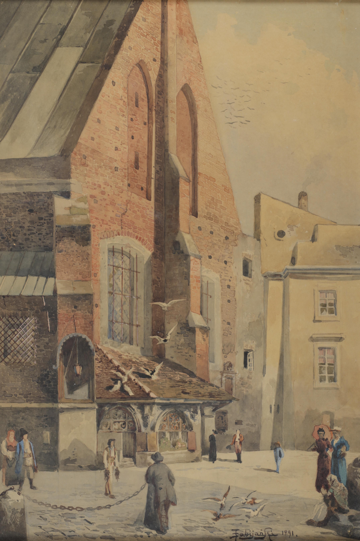 """Stanisław Poraj Fabijański (1865-1947) """"Plac Mariacki w Krakowie"""", źródło: Dorotheum"""