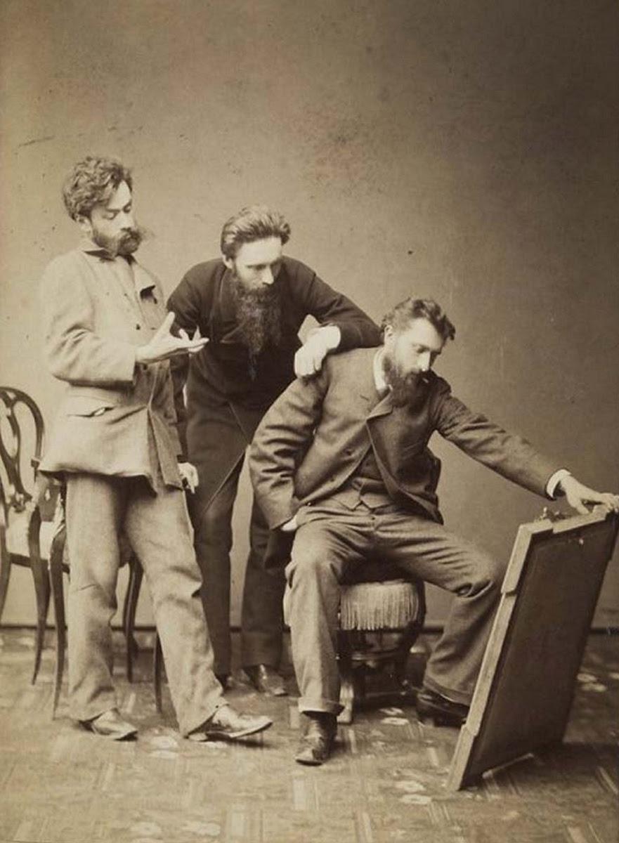 Od lewej Stanisław Witkiewicz, Antoni Sygietyński i Aleksander Gierymski, ok. 1884-1885 roku, źródło: Muzeum Narodowe w Warszawie