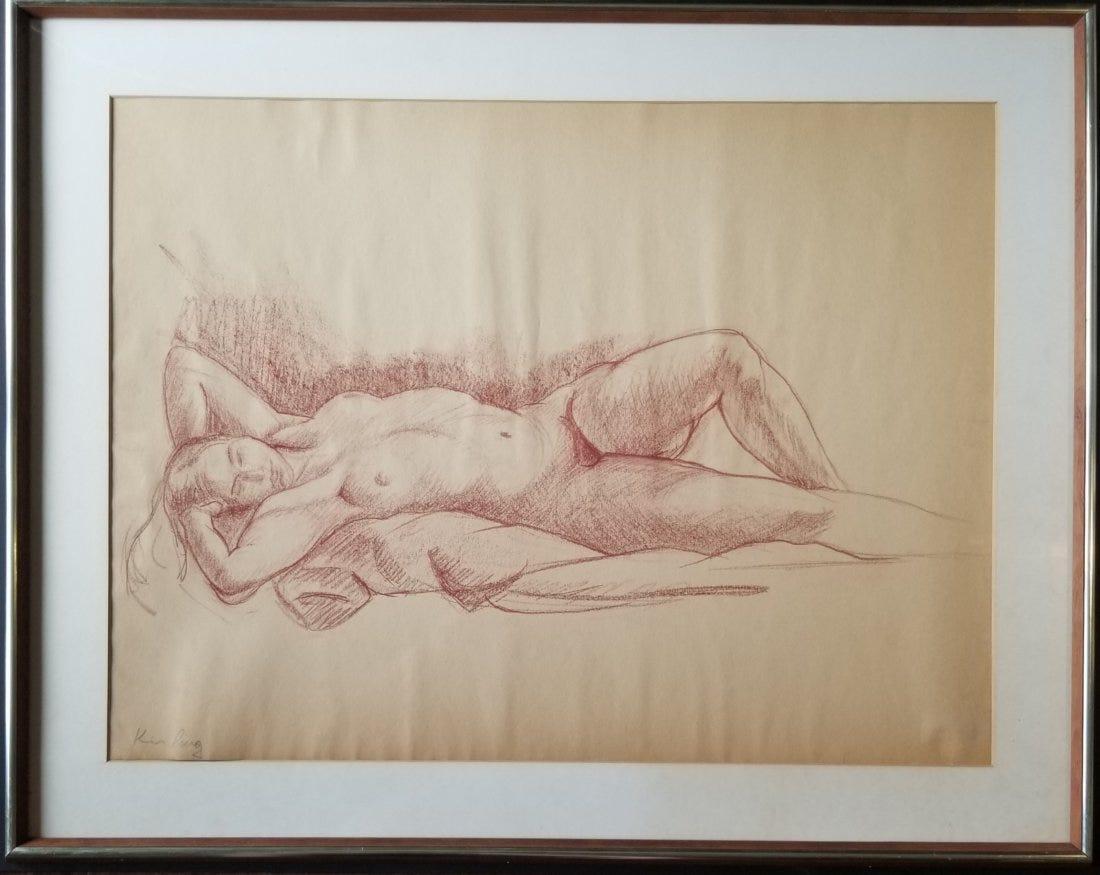 """Mojżesz Kisling (1891-1953) """"Akt leżący"""", źródło: Livingston Auction Inc"""