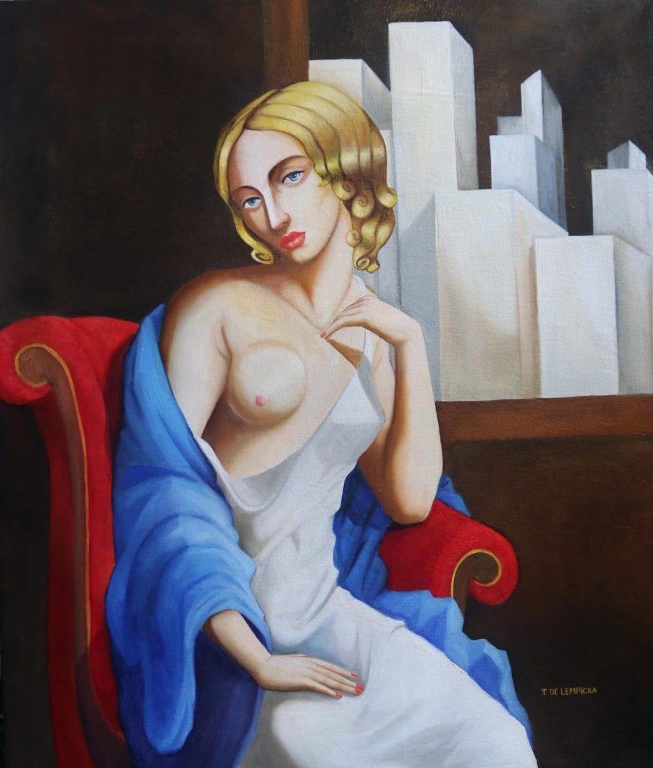 """Tamara Łempicka (1898-1980) """"Akt w fotelu"""", źródło: International Art Auction Gallery"""