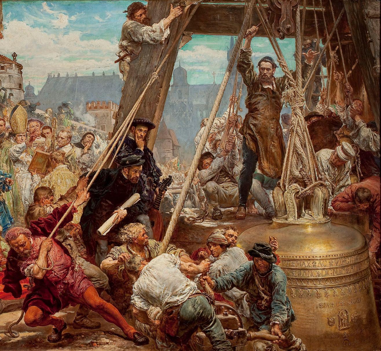 """Jan Matejko (1838-1893) """"Zawieszenie dzwonu Zygmunta na wieży katedry w Krakowie w 1521 roku"""" (fragment), 1874 rok, źródło: Muzeum Narodowe w Warszawie"""