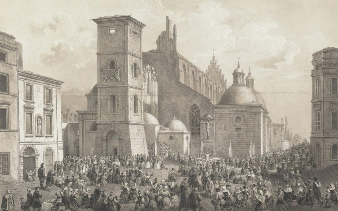 """Krakowskim szlakiem: """"Kościół Dominikanów po pożarze w lipcu 1850"""" Józefa Kurowskiego"""