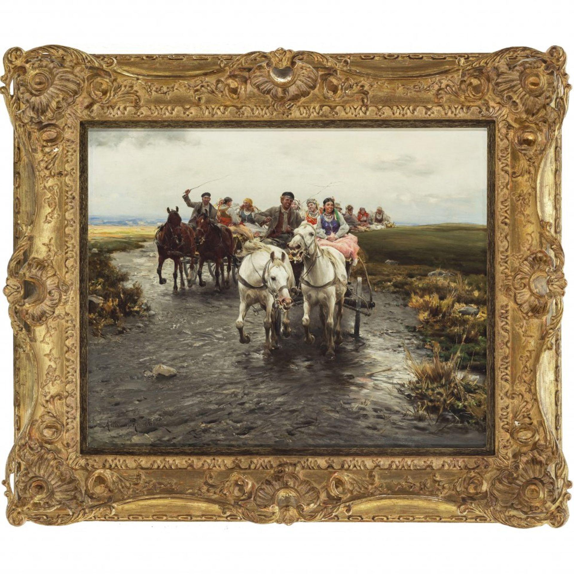 """Alfred Wierusz Kowalski (1849-1915) """"Polskie wesele"""", źródło: Kunst & Auktionshaus Ruef"""
