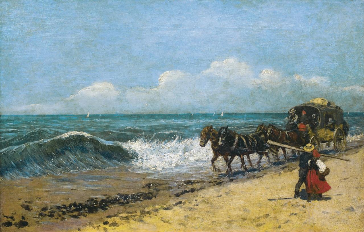 """Stanisław Witkiewicz (1851-1915) """"Dyliżans nad morzem"""", po 1884 roku, źródło: Agra-Art"""