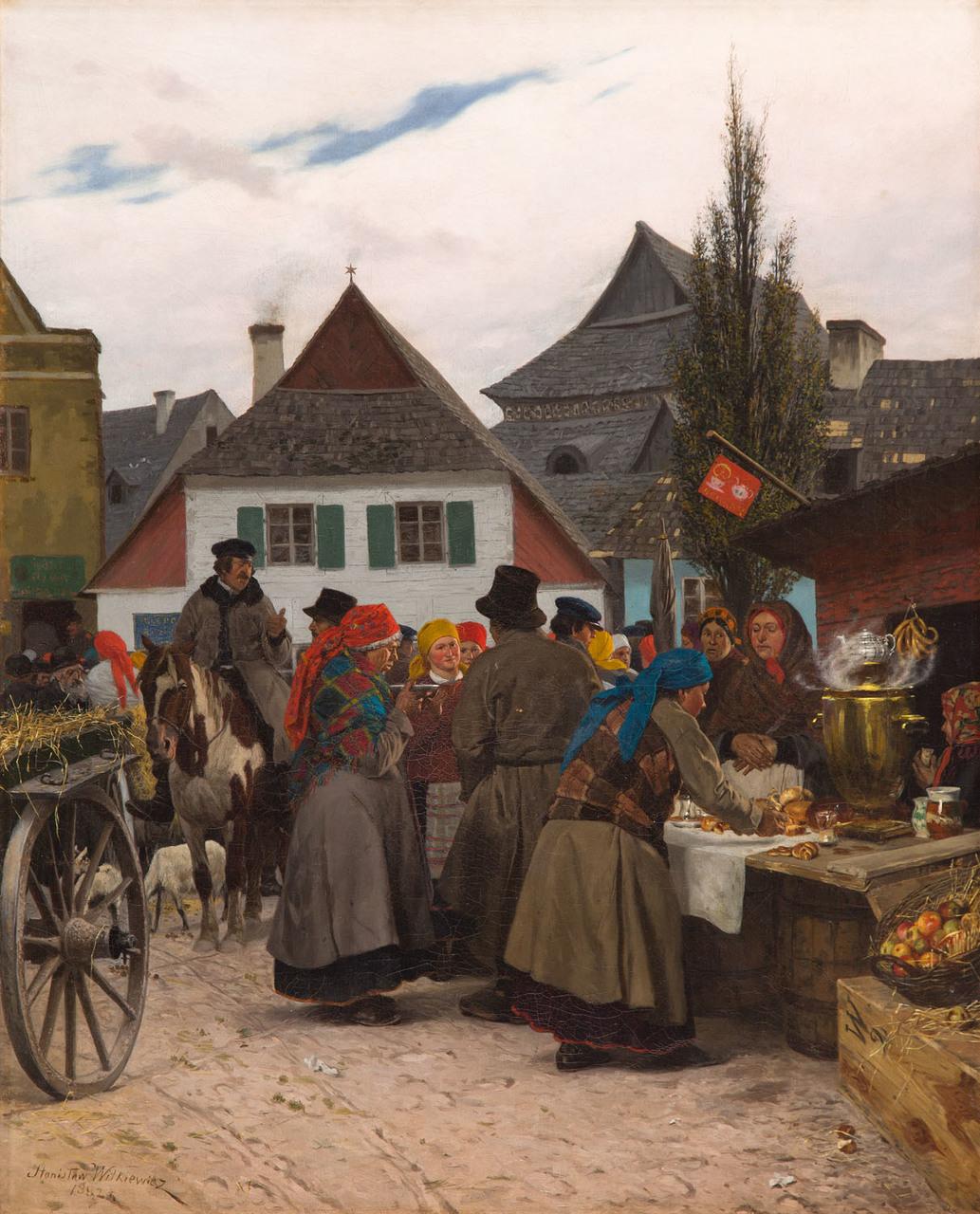 """Stanisław Witkiewicz (1851-1915) """"Jarmark w miasteczku"""", 1882 rok, źródło: Desa Unicum"""