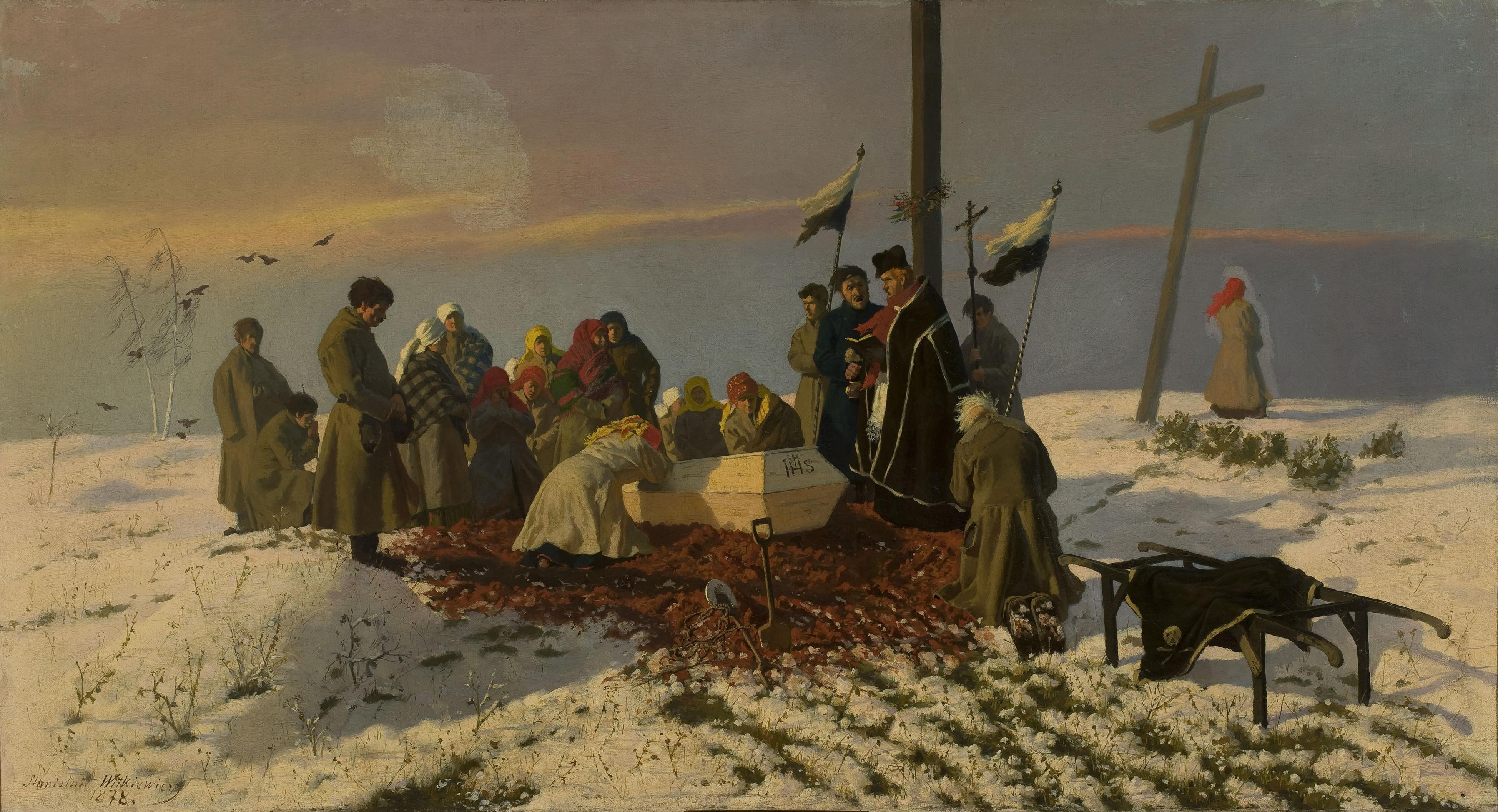"""Stanisław Witkiewicz (1851-1915) """"Pogrzeb na wsi"""", 1878 rok, źródło: Muzeum Narodowe w Warszawie"""