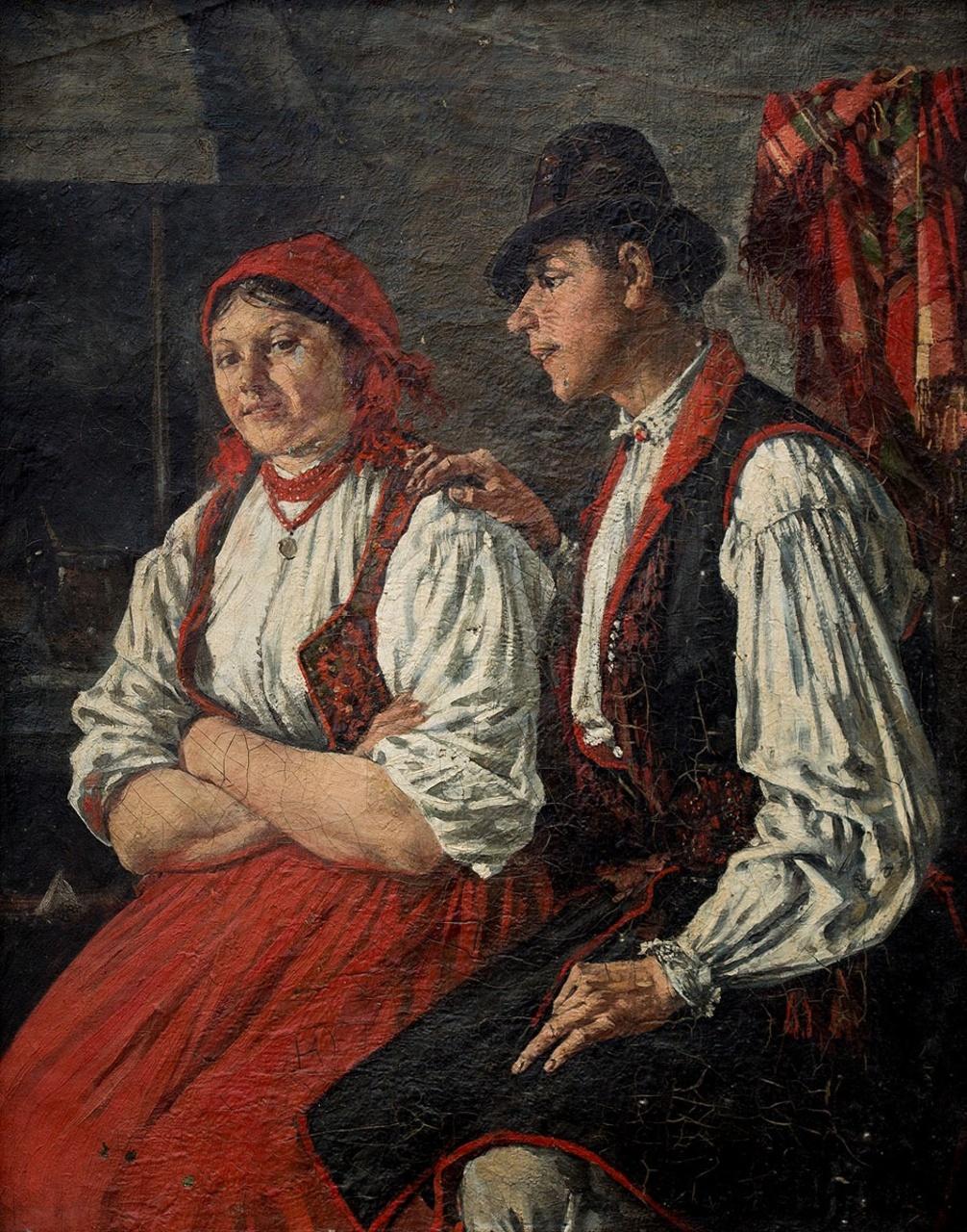 """Stanisław Witkiewicz (1851-1915) """"Zaloty"""", 1892 rok, źródło: Polswiss Art"""