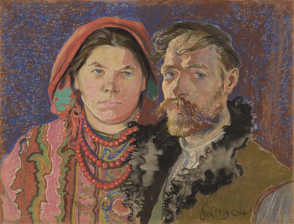"""Stanisław Wyspiański (1869-1907) """"Autoportret z żoną"""", 1904 rok, źródło: Muzeum Narodowe w Krakowie"""