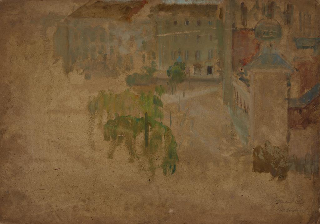 """Olga Boznańska (1865-1940) """"Rynek krakowski - Fragment ulicy"""", ok. 1888 roku, olej/tektura, 50 x 70 cm, źródło: Muzeum Narodowe w Krakowie"""