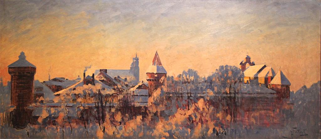 """Julian Fałat (1853-1929) """"Kraków w zimie"""", przed 1908 rokiem, olej/płótno, 58 x 129,3 cm, źródło: Muzeum Narodowe we Wrocławiu"""