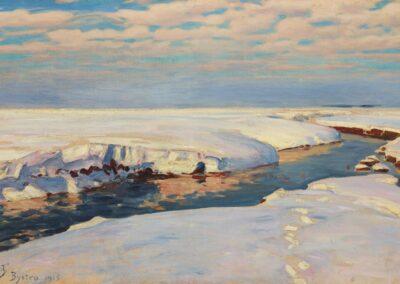 """Julian Fałat (1853-1929) """"Krajobraz zimowy"""" źródło: Muzeum Narodowe w Krakowie"""