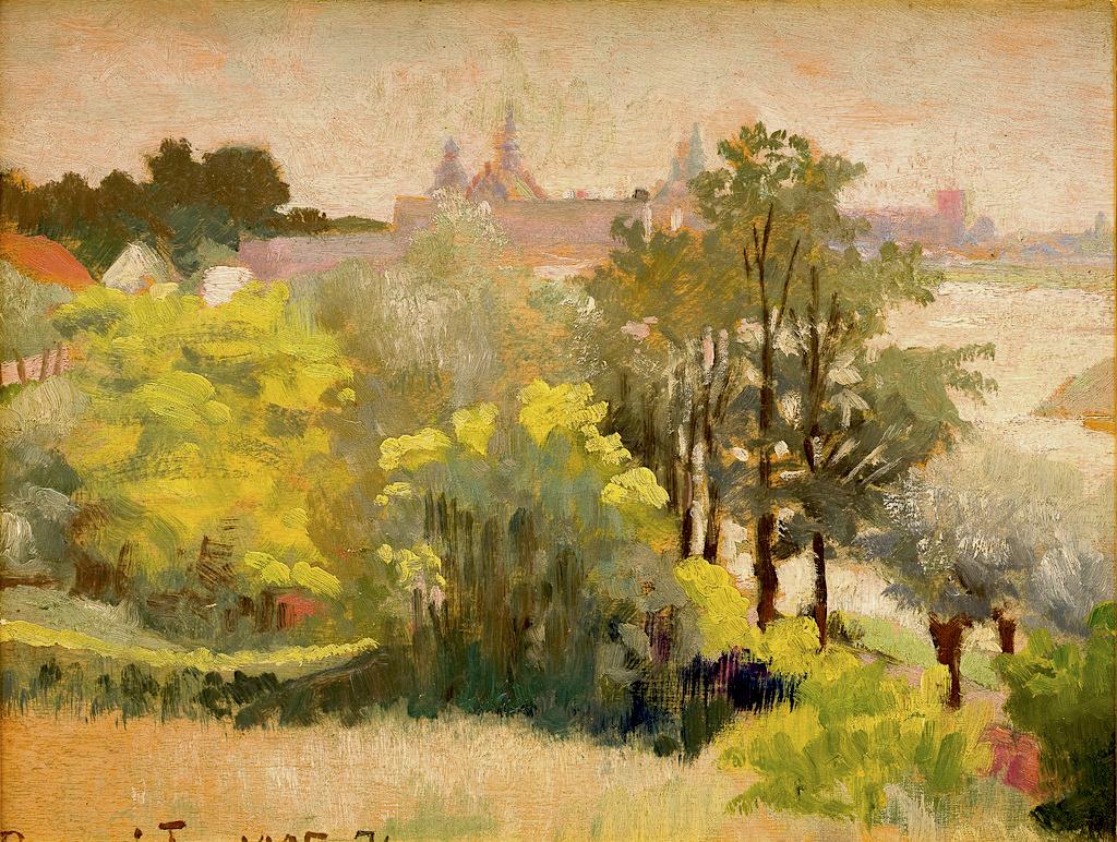 """Jacek Malczewski (1854-1929) """"Widok na Kraków ze Zwierzyńca"""", 1905 rok, olej/deska, 19 x 24,2 cm, źródło: Muzeum Narodowe w Krakowie"""
