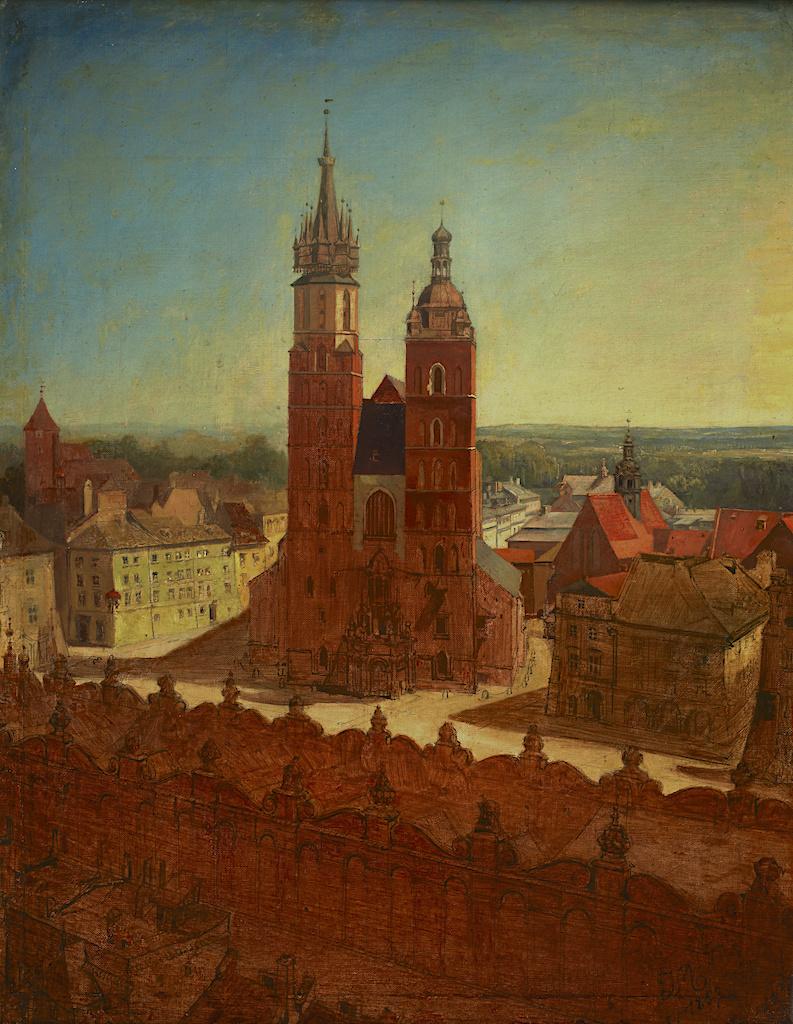 """Jan Matejko (1838-1893) """"Widok z wieży ratuszowej"""", 1857 rok, olej/płótno, 63,5 x 48,5 cm, źródło: Muzeum Narodowe w Krakowie (Dom Jana Matejki)"""