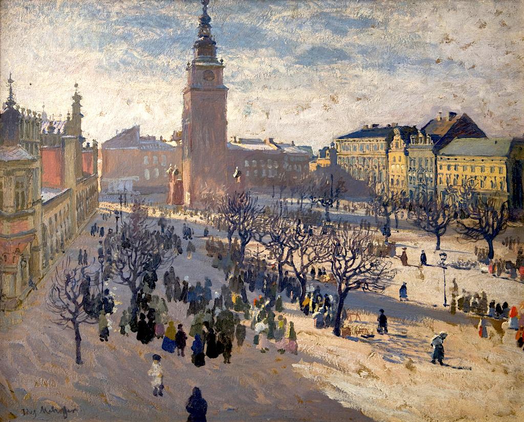 """Józef Mehoffer (1869-1946) """"Rynek krakowski"""", 1903 rok, olej/deska, 55,5 x 69 cm, źródło: Muzeum Narodowe w Krakowie (Dom Józefa Mehoffera)"""
