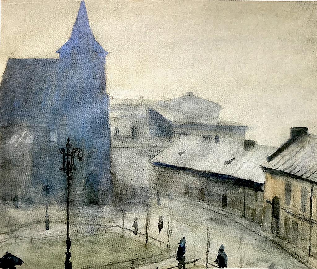 """Władysław Podkowiński (1866-1895) """"Plac św. Ducha w Krakowie"""", 1893 rok, akwarela, pastel/ papier, 27,5 x 33, 5 cm, źródło: Zamek Królewski w Warszawie"""