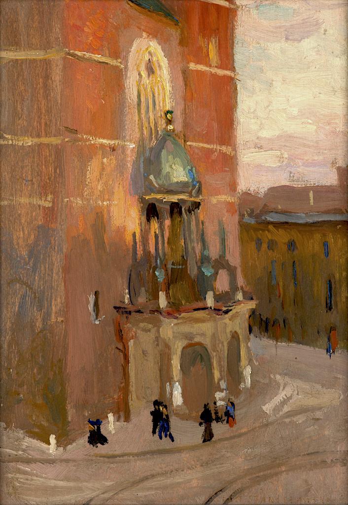"""Jan Stanisławski (1860-1907) """"Kościół Mariacki w Krakowie"""", ok. 1904 rok, olej/deska, 22,3 x 16 cm, źródło: Muzeum Narodowe w Krakowie"""