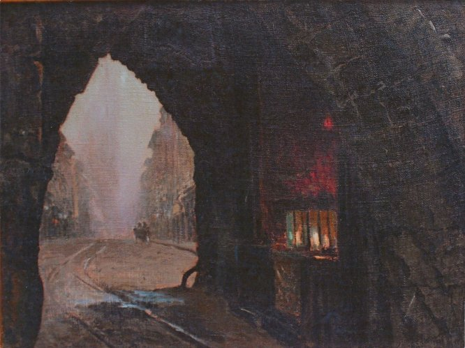 """Leon Wyczółkowski (1852-1936) """"Brama Floriańska"""", 1906 rok, olej/płótno; 75,5 x 100,5 cm, źródło: Muzeum Okręgowe w Bydgoszczy"""