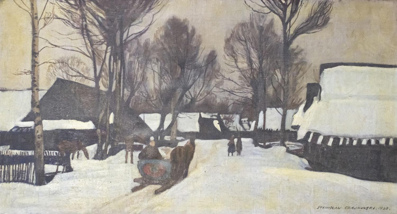 """Stanisław Czajkowski (1878-1954) """"Zaśnieżona wieś"""", źródło: Pasarel"""