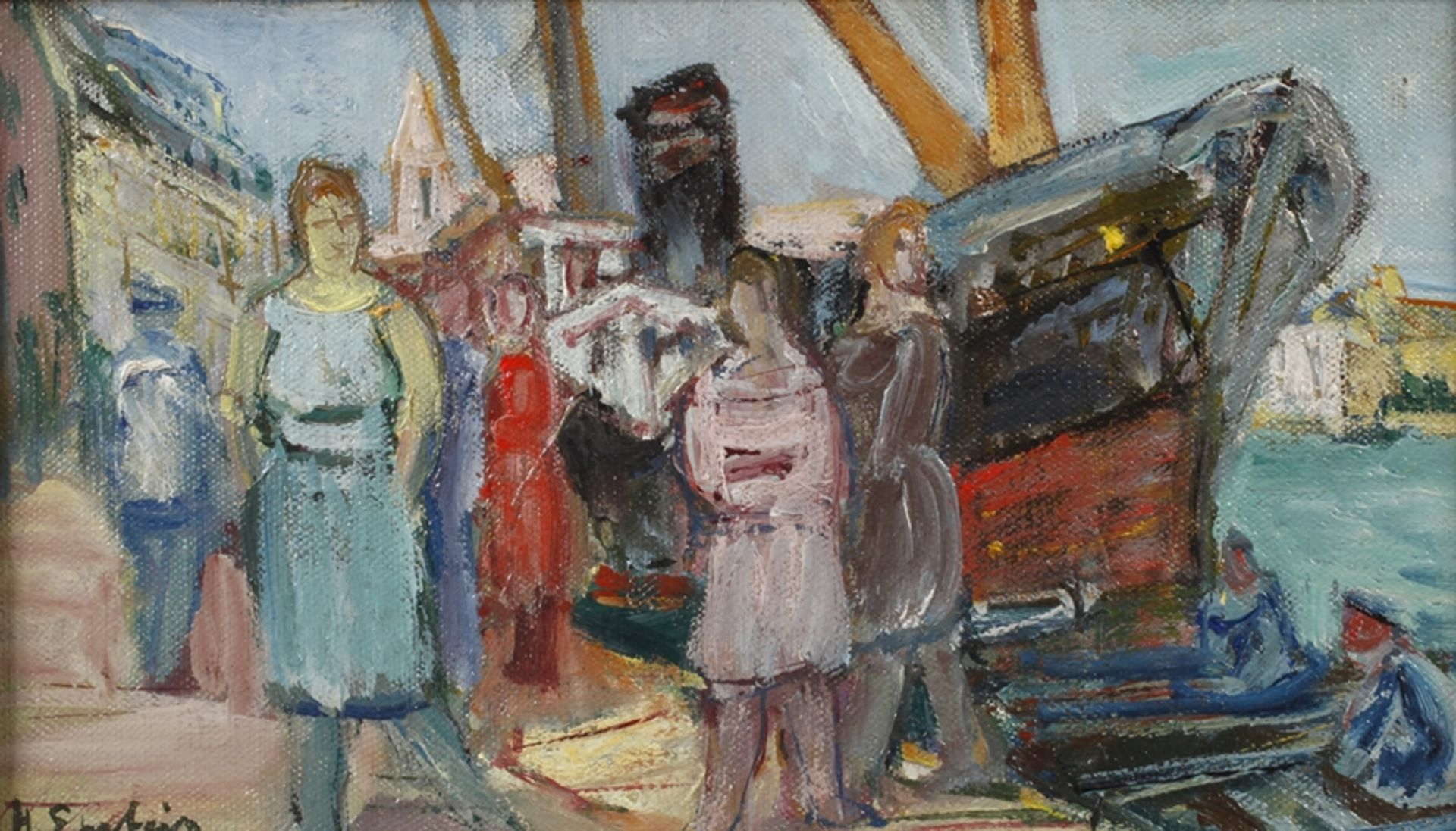 "Henryk Epstein (1890-1944) ""Scena portowa"", źródło: Auktionshaus Mehlis"