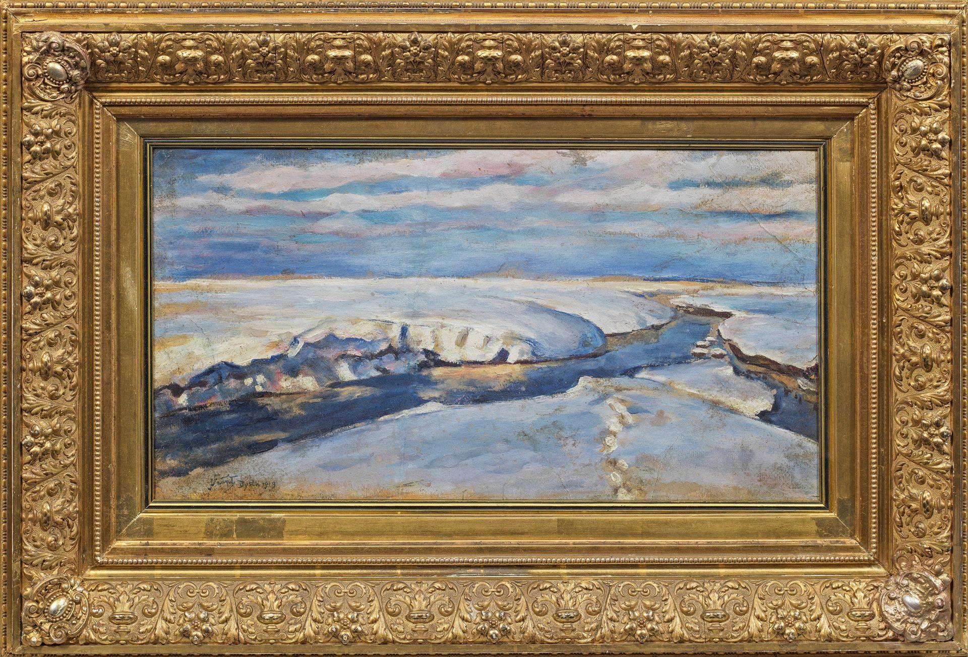 """Julian Fałat (1853-1929) """"Pejzaż zimowy"""" , źródło: Kunstauktionshaus Schloss Ahlden"""