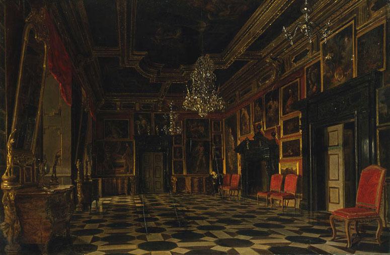 """Aleksander Gryglewski (1833-1879) """"Sala Karmazynowa w Podhorcach"""", ok. 1871 roku, źródło: Muzeum Narodowe w Warszawie"""