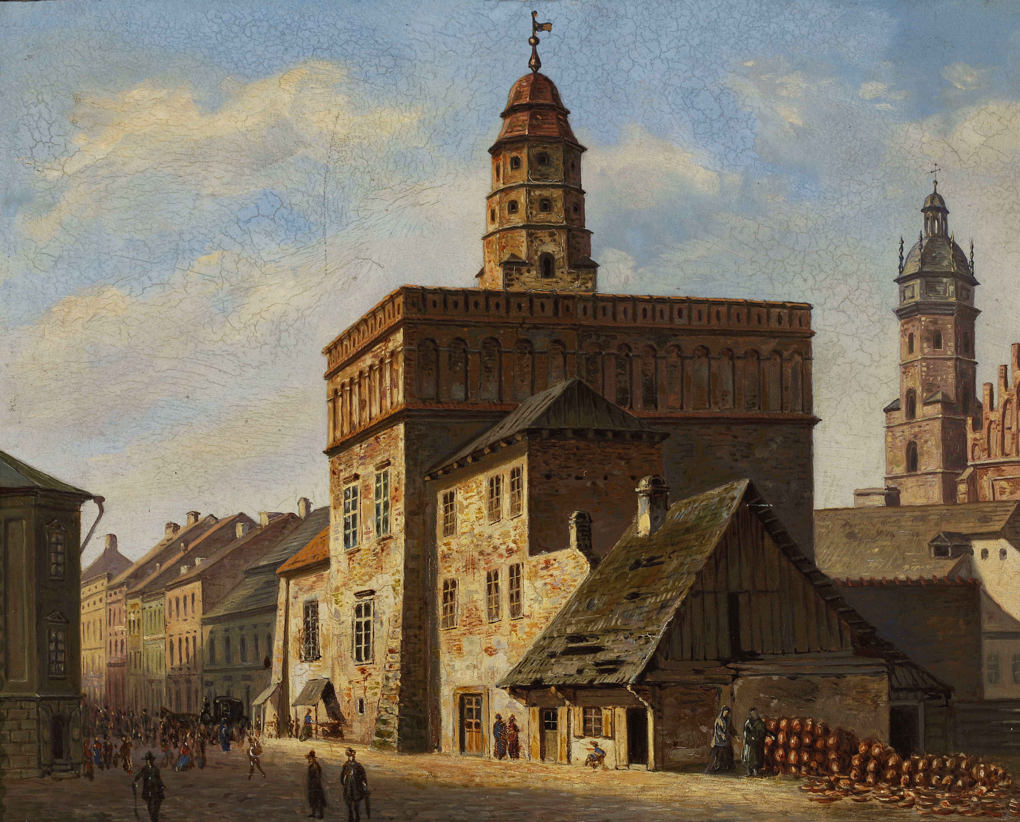 """Aleksander Gryglewski (1833-1879) """"Stary Ratusz na Kazimierzu w Krakowie"""", ok. 1862 roku, źródło: Muzeum Narodowe w Warszawie"""