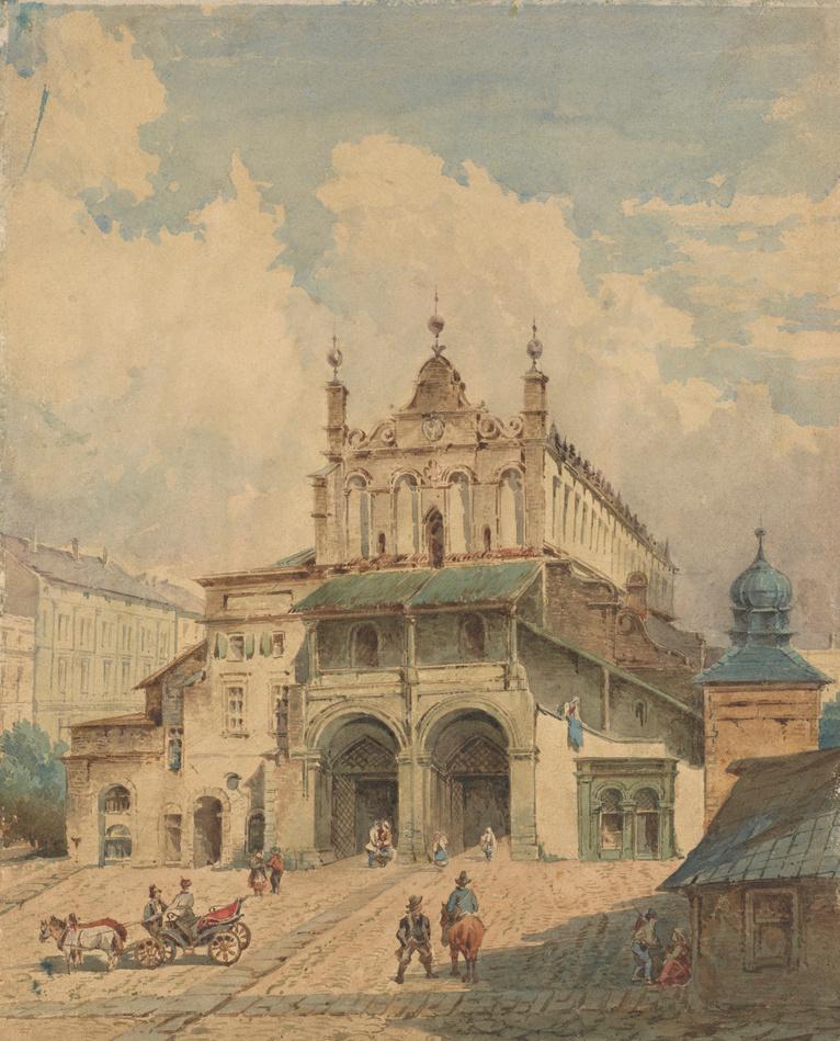 """Aleksander Gryglewski (1833-1879) """"Sukiennice przed przebudową"""", ok. 1869 roku, źródło: Muzeum Narodowe w Krakowie"""