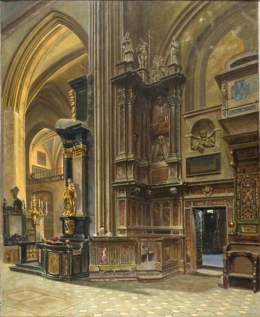 """Aleksander Gryglewski (1833-1879) """"Wnętrze kościoła Panny Marii w Krakowie"""", 1867 rok, źródło: Muzeum Narodowe w Krakowie"""