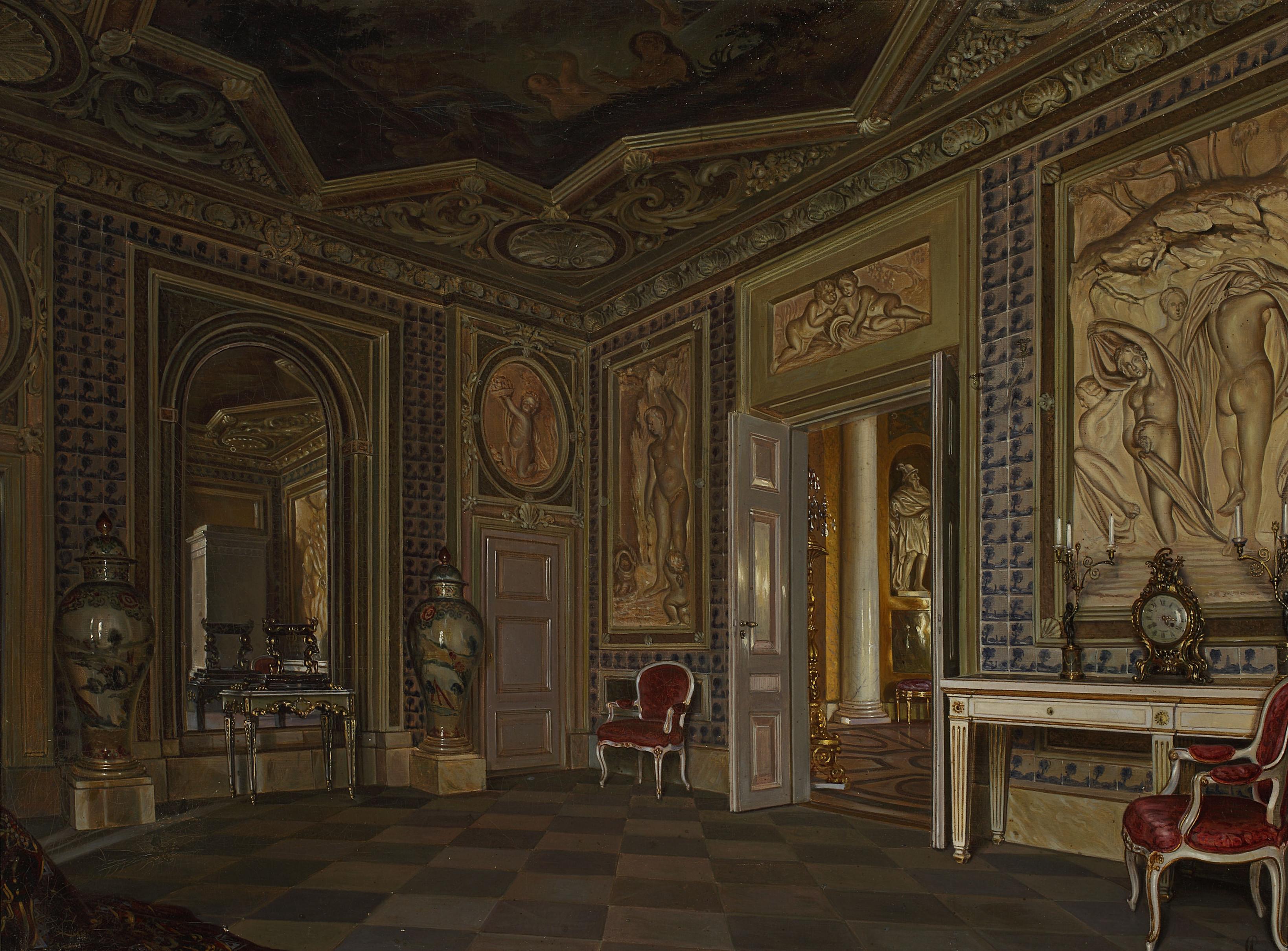 """Aleksander Gryglewski (1833-1879) """"Wnętrze Pałacu w Łazienkach"""", 1875 rok, źródło: Muzeum Narodowe w Warszawie"""
