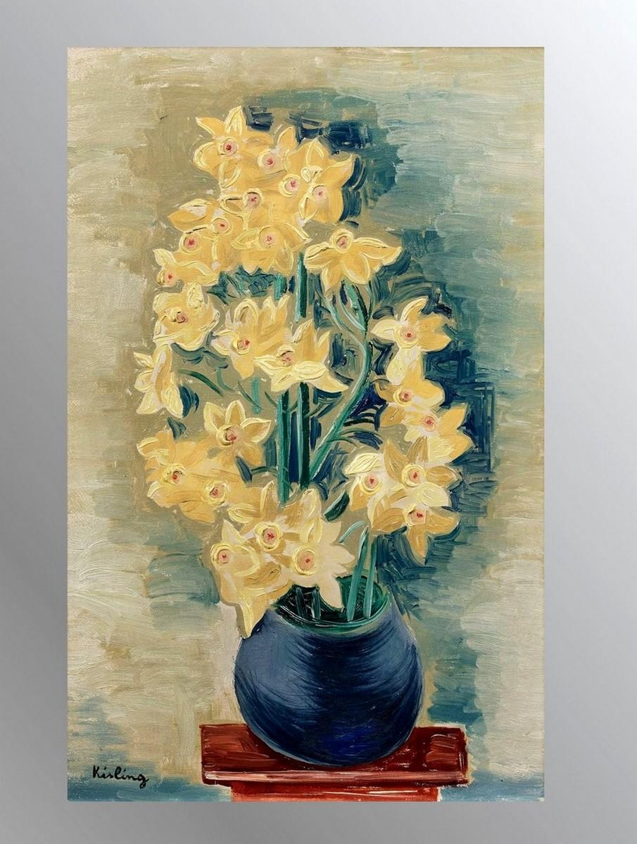 """Mojżesz Kisling (1891-1953) """"Bukiet żonkili w niebieskim wazonie"""", źródło: Auction.fr"""