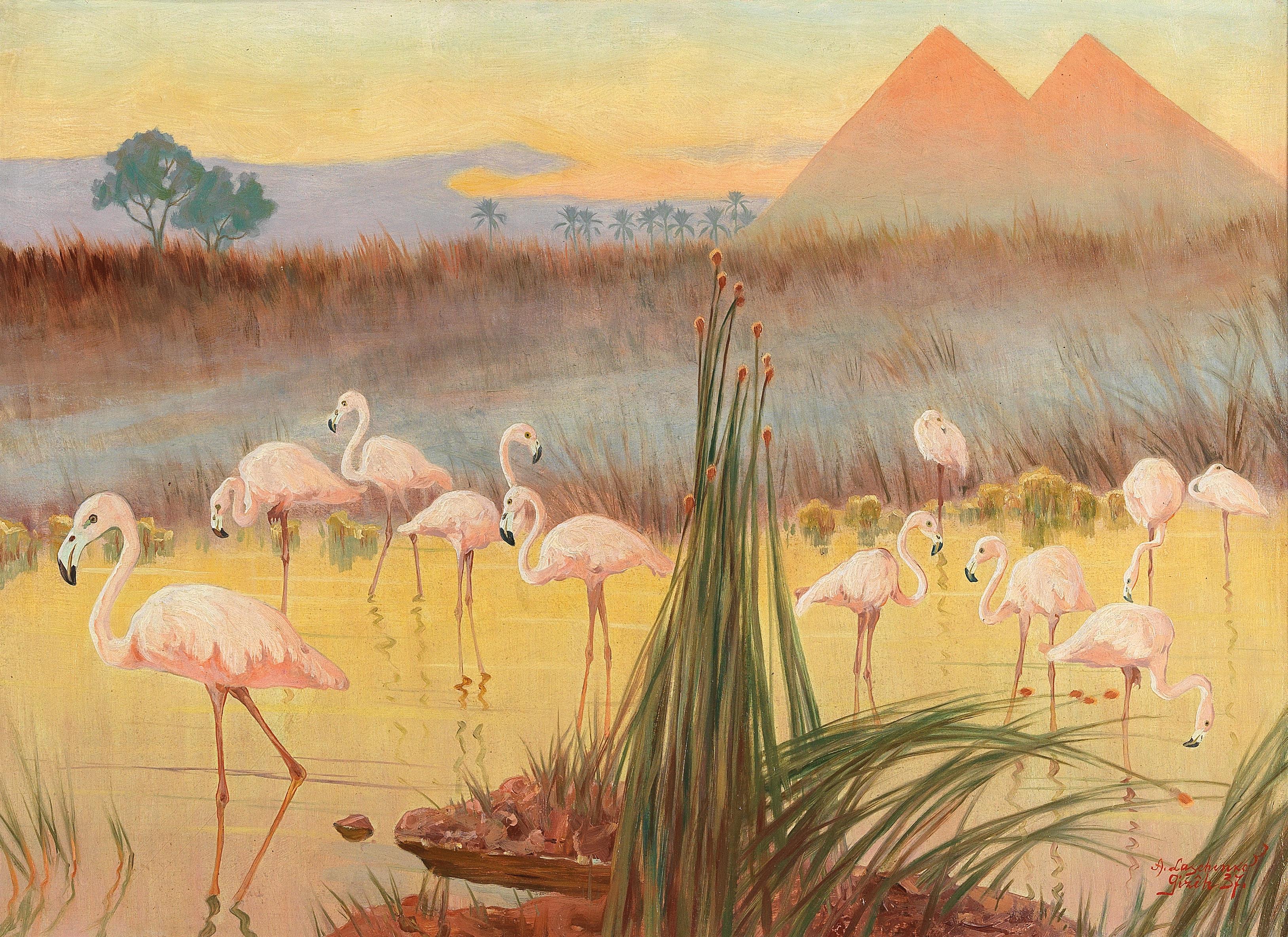 """Aleksander Laszenko (1883-1944) """"Flamingi w Gizie"""", 1937 rok, źródło: Dorotheum"""