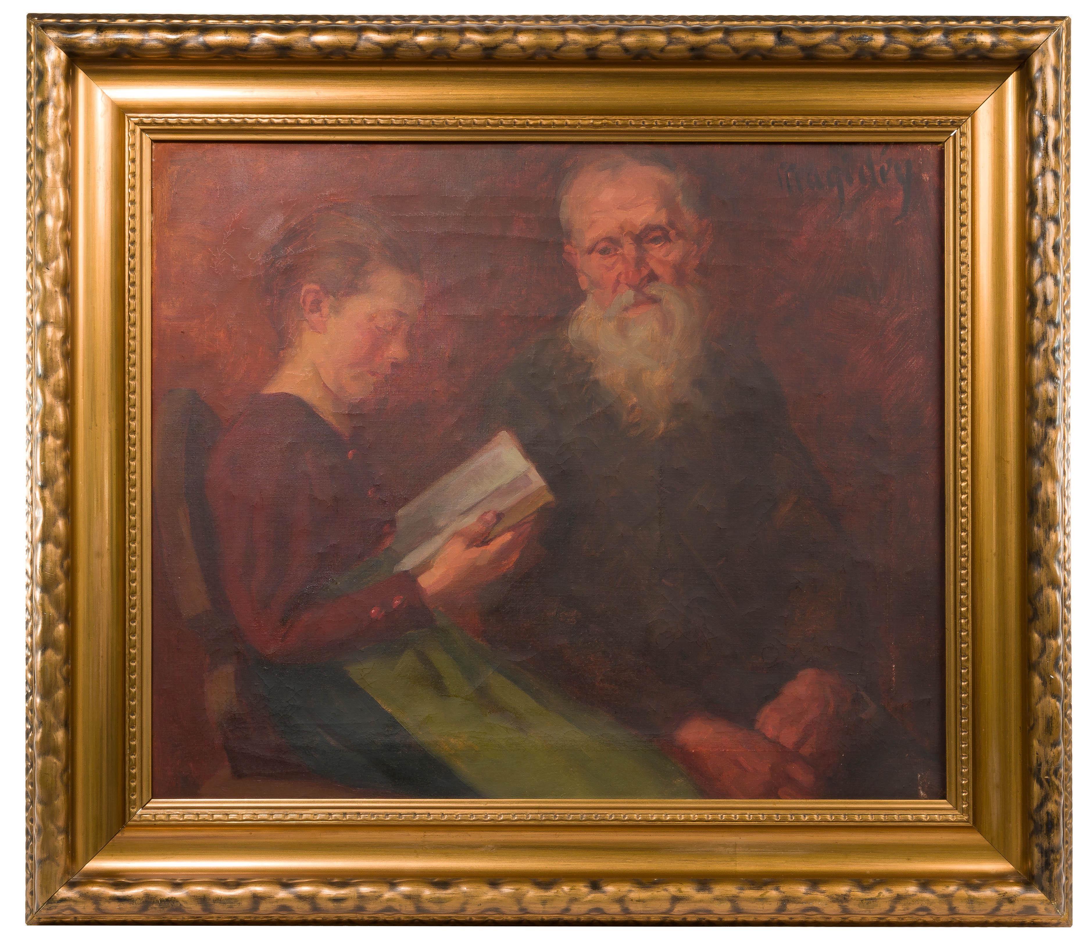 """Włodzimierz Magidey (1881 - 1942) """"Wspólna lektura"""", źródło: Leonard Auction"""