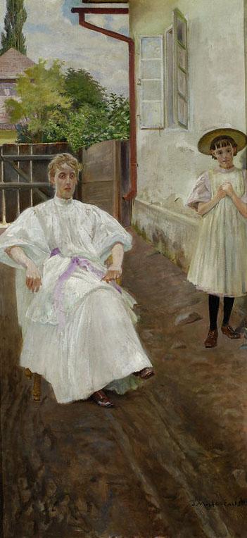 """Jacek Malczewski (1854-1929) """"Przed domem - żona i córka artysty"""", 1896 rok, źródło: Muzeum Narodowe w Warszawie"""
