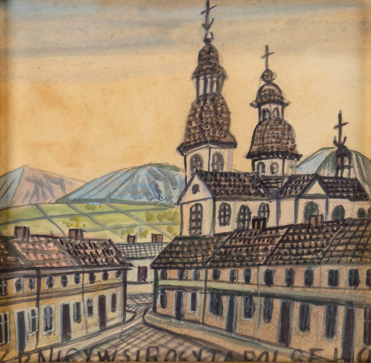 """Nikifor Krynicki (1895-1968) """"Miasteczko"""", źródło: Bertolami Fine Arts"""