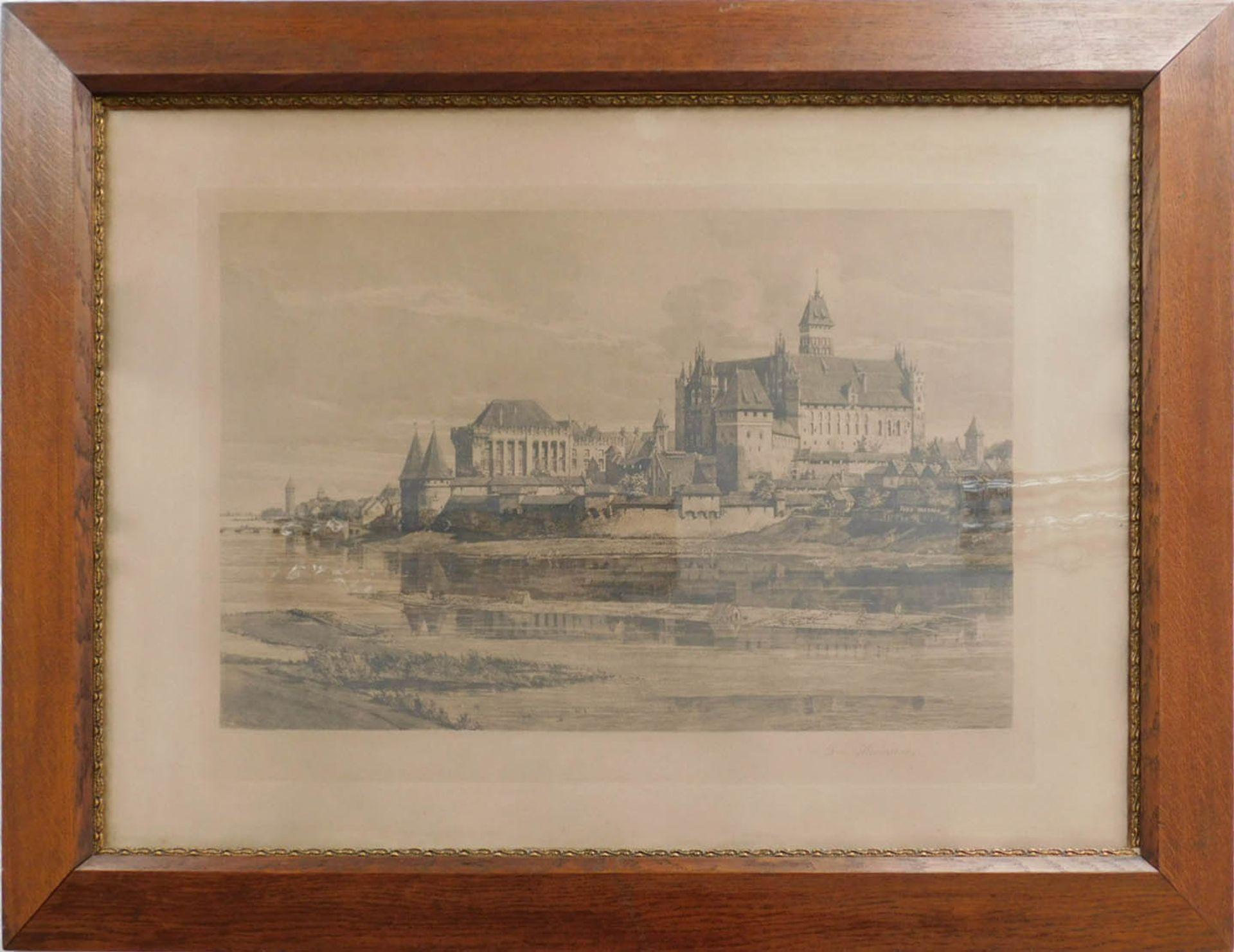 "Hugo Ulbrich (1867-1928) ""Zamek w Malborku"", źródło: Auktionshaus Oberursel"