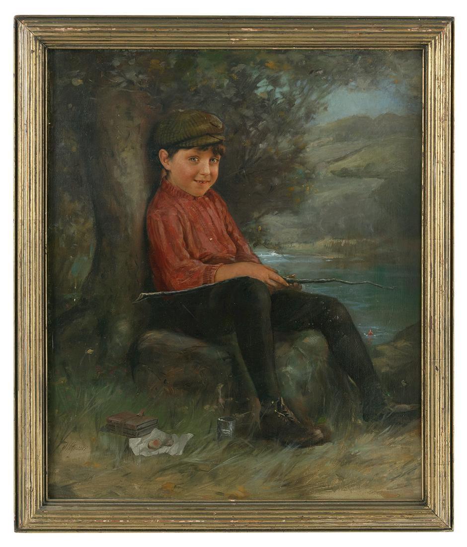 """Karol Witkowski (1860-1910) """"Mały wędkarz"""", źródło: New Orleans Auction Galleries"""
