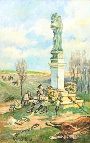"""Wojciech Kossak (1856-1942) """"Po bitwie"""", źródło: Greenwich Auction"""