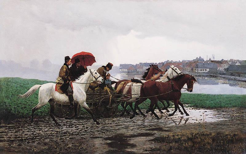 """Włodzimierz Łoś (1849-1888) """"Jazda w deszczu"""", 1888 rok, źródło: Agra-Art"""