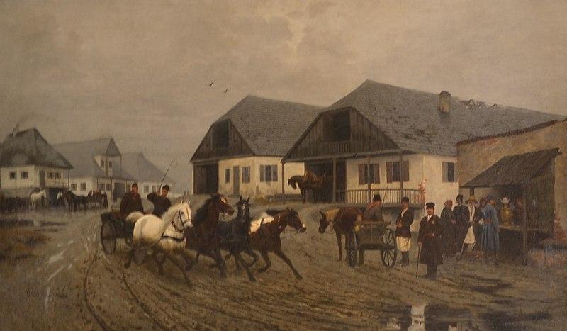 """Włodzimierz Łoś (1849-1888) """"Miasteczko"""", 1879 rok, źródło: Muzeum im. J. Malczewskiego w Radomiu"""