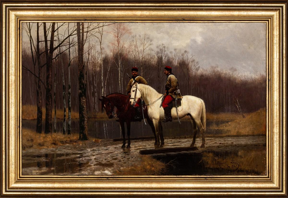 """Włodzimierz Łoś (1849-1888) """"Patrol powstańczy"""", 1883 rok, źródło: Salon Dzieł Sztuki Connaisseur"""