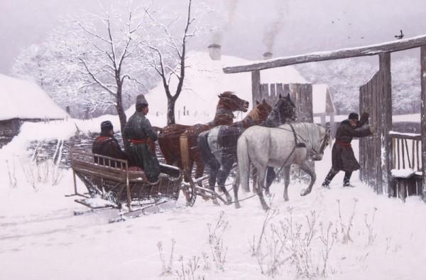 """Włodzimierz Łoś (1849-1888) """"Sanie przed bramą"""", 1885 rok, źródło: Muzeum Południowego Podlasia w Białej  Podlaskiej"""