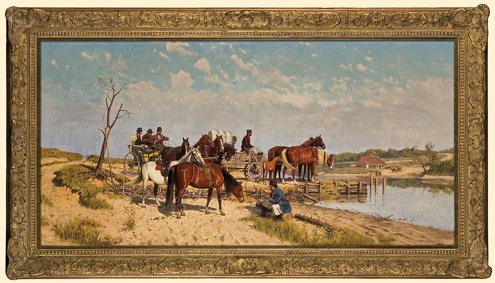 """Włodzimierz Łoś (1849-1888) """"W oczekiwaniu na prom"""", 1885 rok, źródło: Agra-Art"""