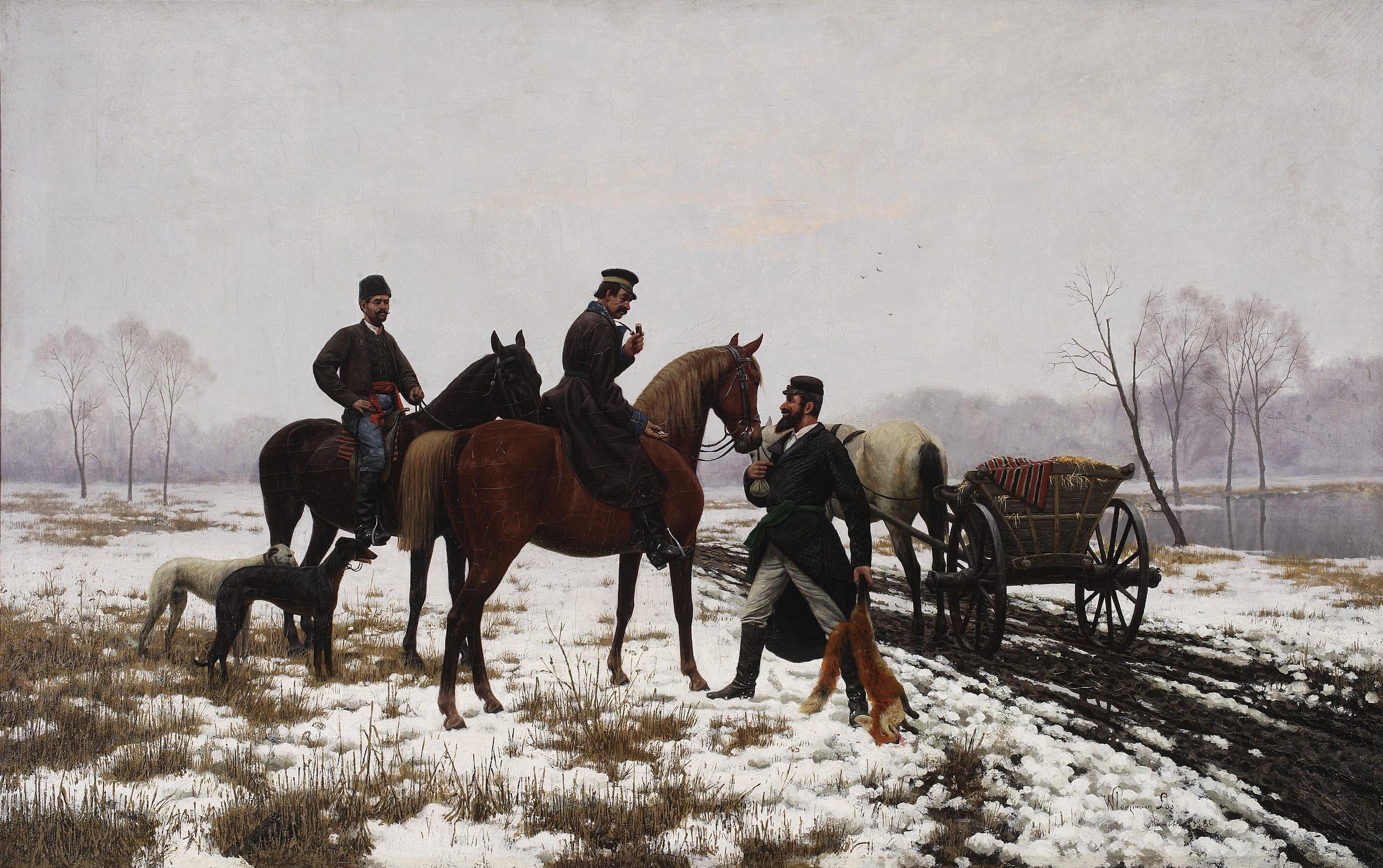 """Włodzimierz Łoś (1849-1888) """"Dojeżdżacze odsprzedają handlarzom zaszczutego lisa"""", 1886 rok, źródło: Muzeum Narodowe w Warszawie"""