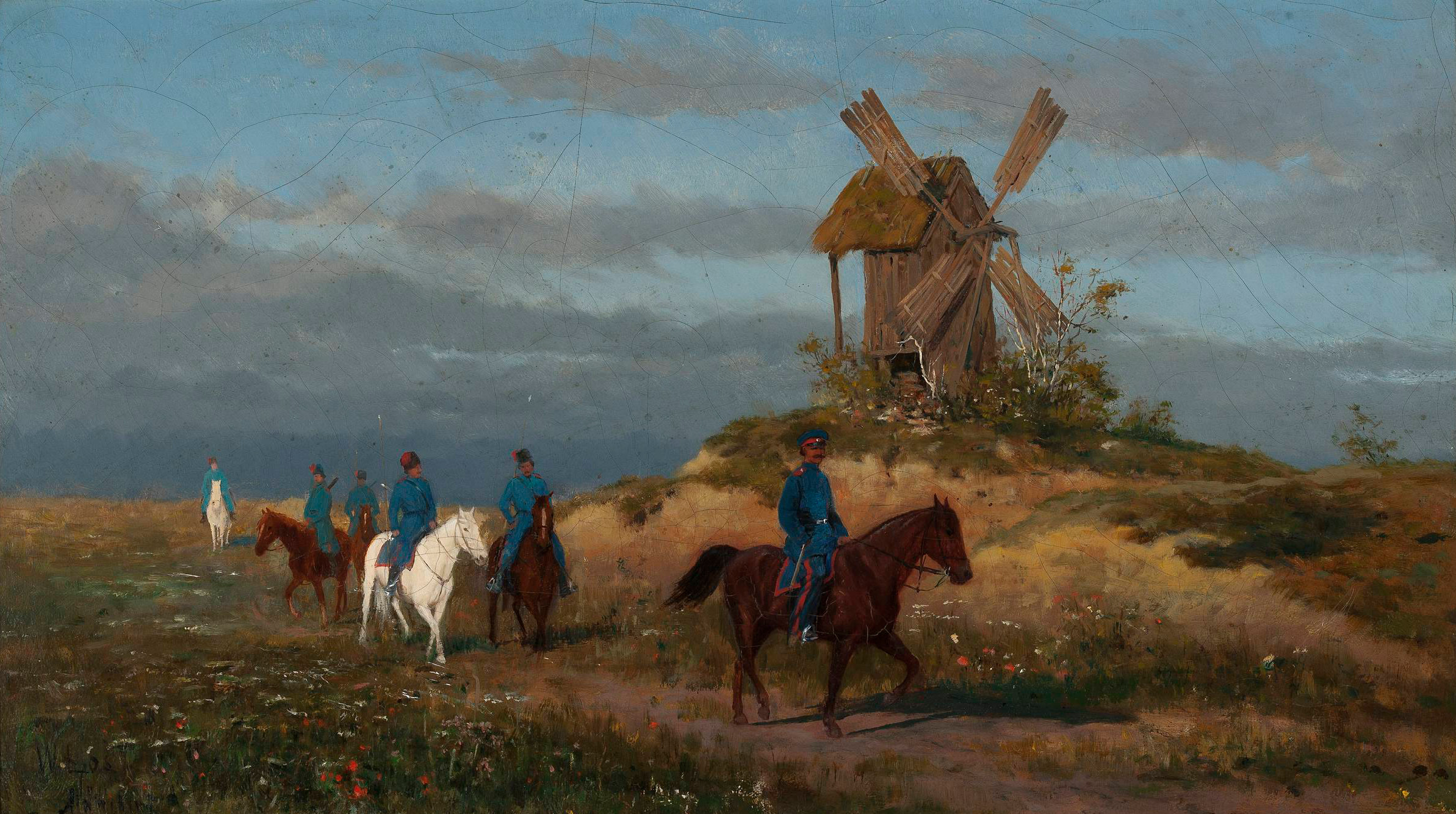 """Włodzimierz Łoś (1849-1888) """"Żołnierze na polnej drodze (Kozacy przy wiatraku)"""", źródło: Muzeum Narodowe w Warszawie"""