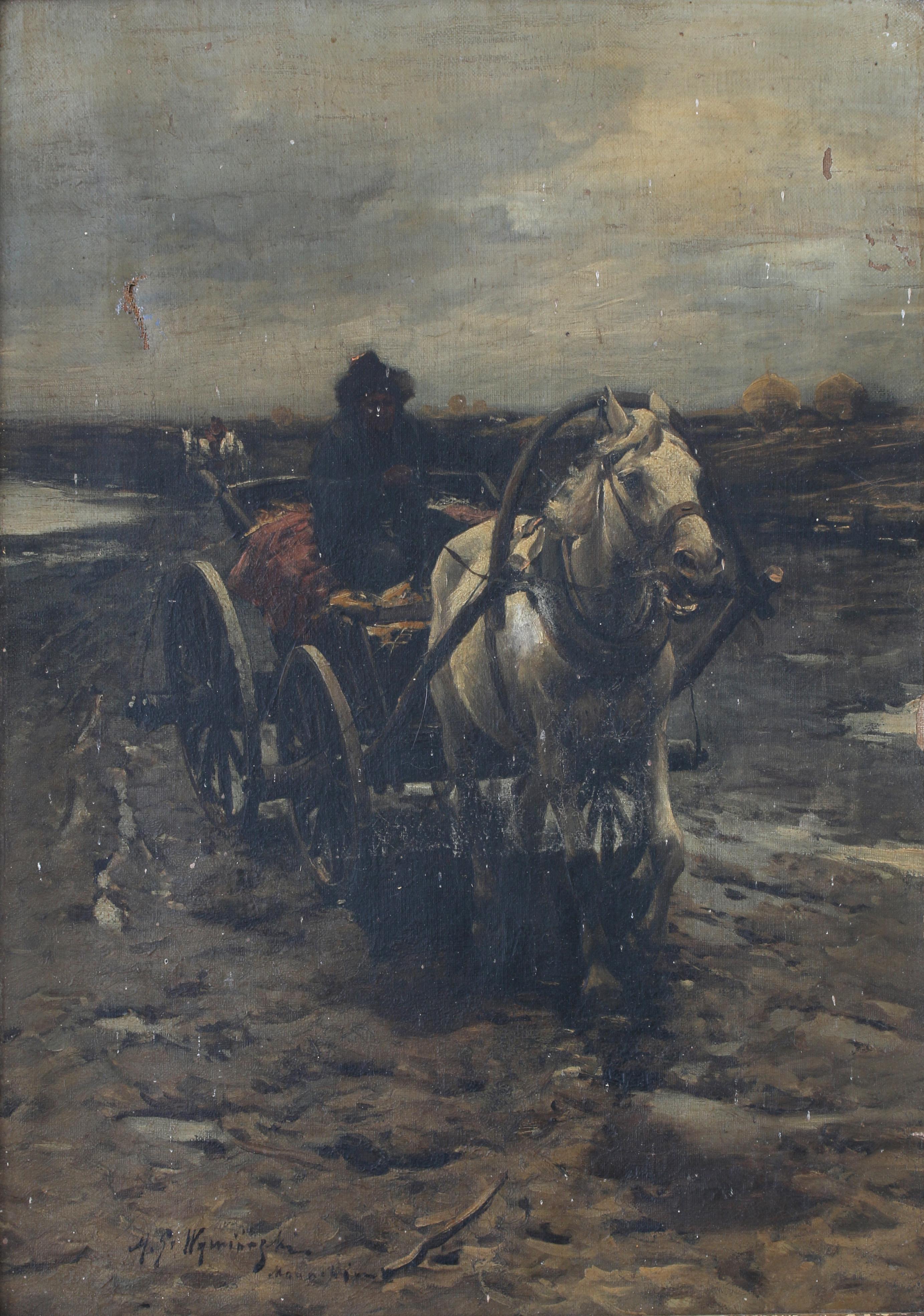 """Michał Gorstkin Wywiórski (1861-1926) """"Błotnista droga"""", źródło:  Vendu Auctions"""