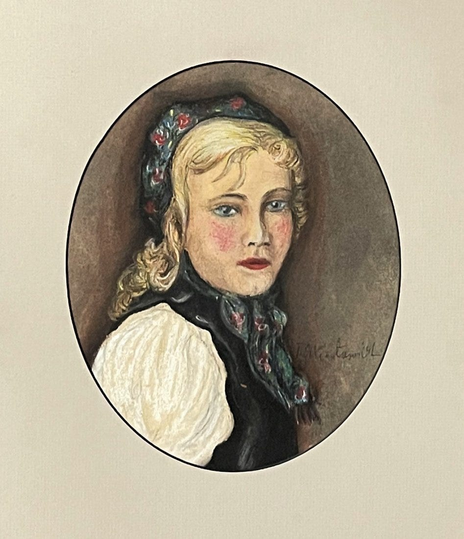 "Teodor Axentowicz (1859-1938) ""Portret blondynki"", źródło: Coral Gables Auction"