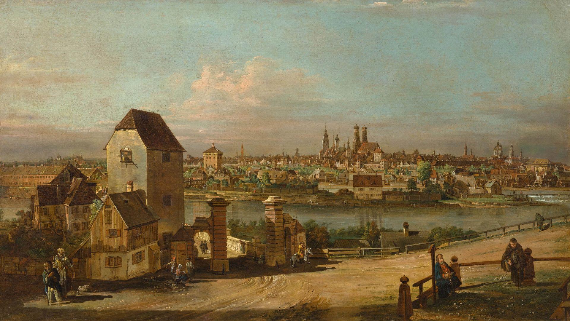 """Bernardo Bellotto, zwany Canaletto (1721-1780) """"Monachium - panorama miasta znad Izary"""", źródło: Koller Auktionen"""