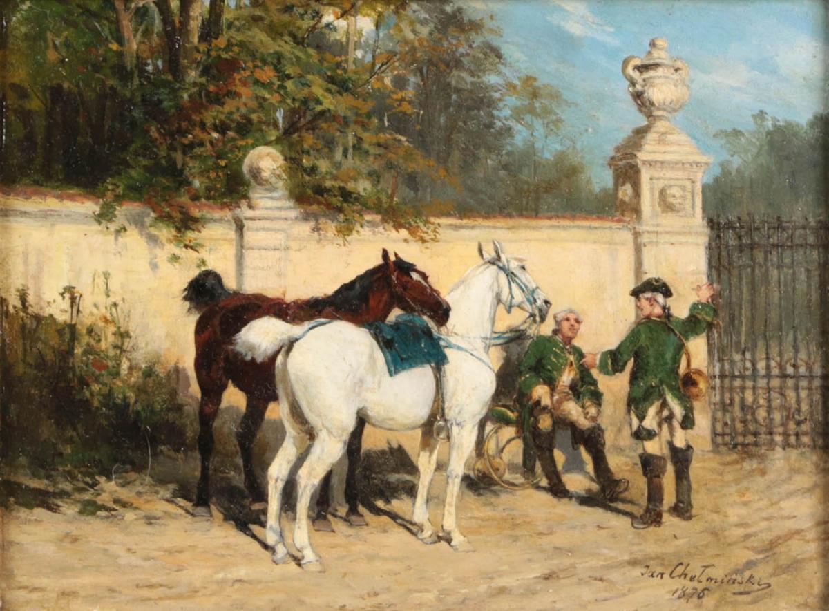 """Jan Chełmiński (1851-1925) """"Z depeszą"""", źródło: Tennants Auctioneers"""