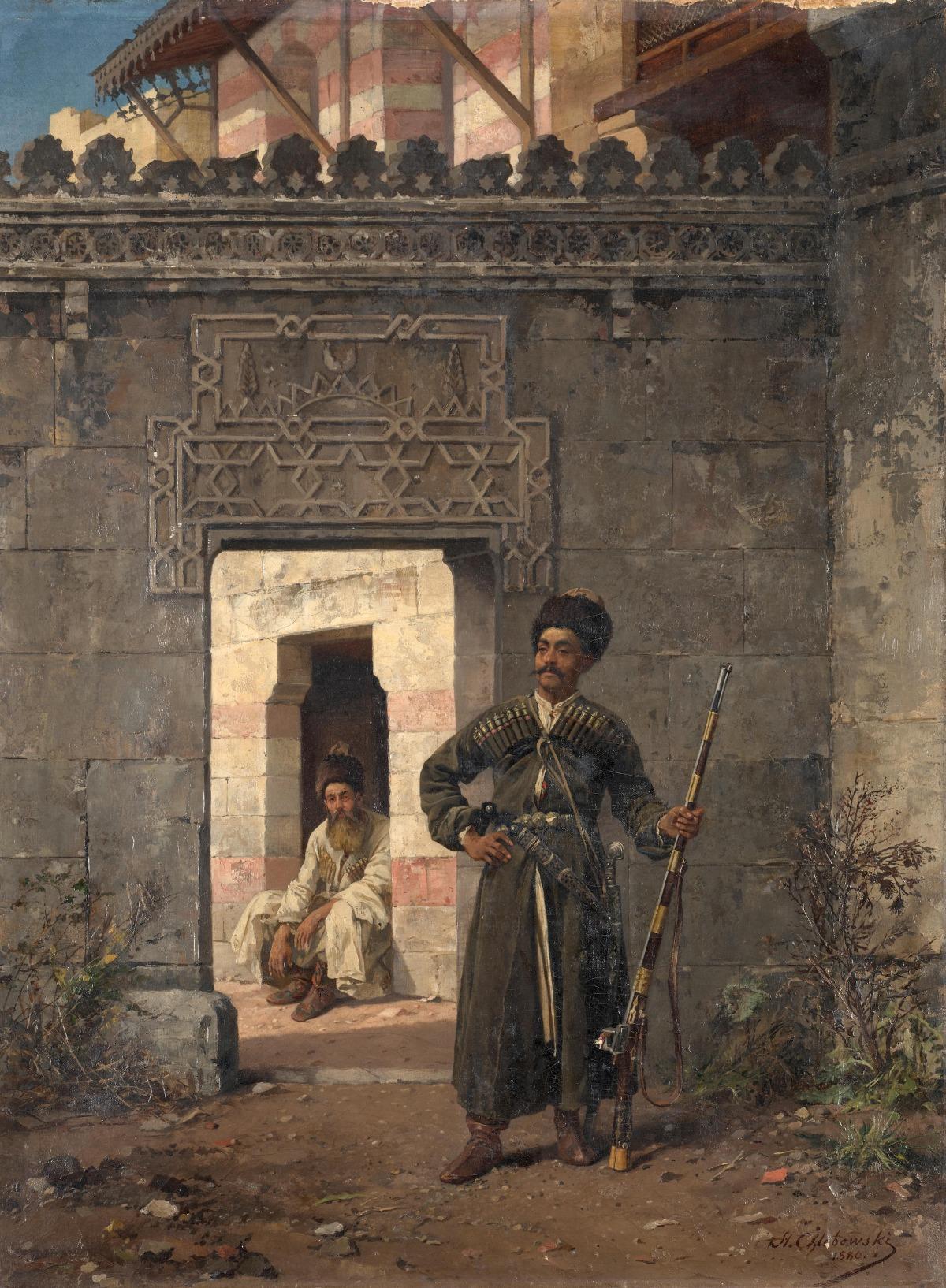 """Stanisław Chlebowski (1835-1884) """"Czerkieska straż"""" , źródło: Bonhams"""