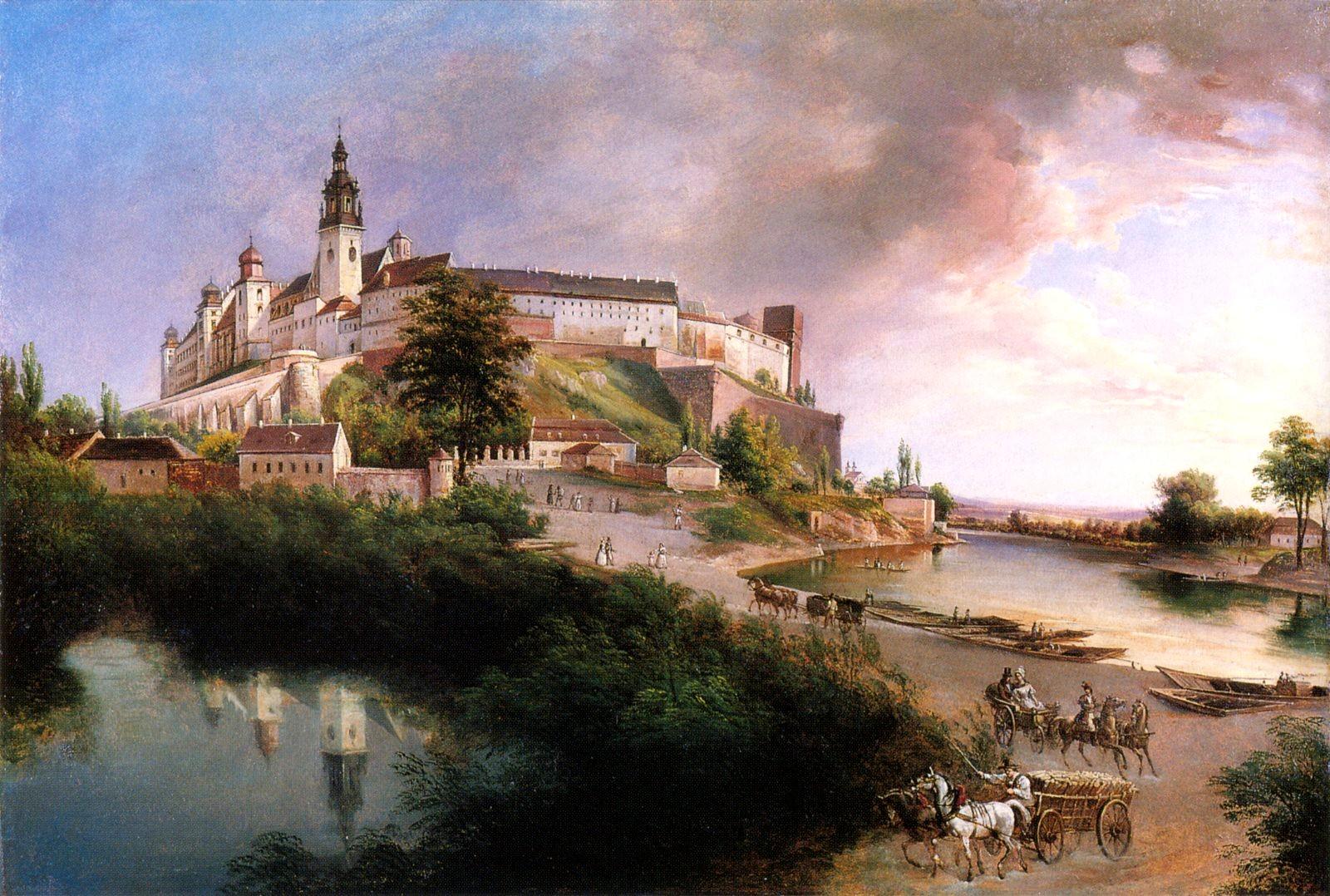 """Jan Nepomucen Głowacki (1802-1847) """"Widok na Wawel"""", około 1847 roku, źródło: Państwowe Zbiory Sztuki na Wawelu"""